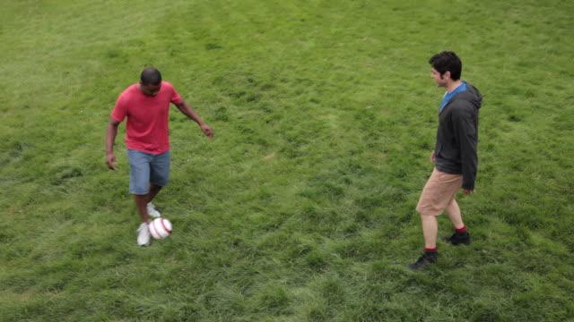 ms two men playing soccer on lawn / portland, oregon, united states - nur männer über 30 stock-videos und b-roll-filmmaterial