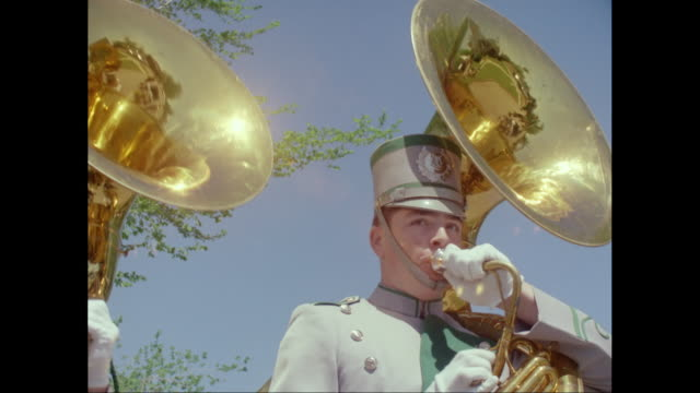 ms two men playing tubas in marching band / united states - parade stock videos & royalty-free footage