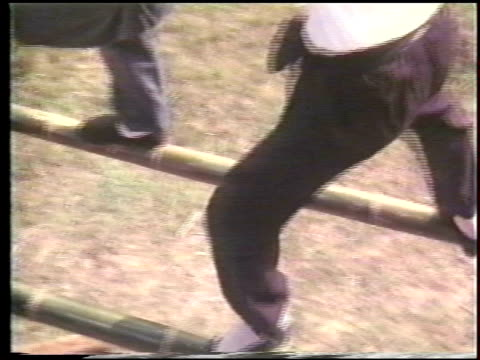 stockvideo's en b-roll-footage met two men practice balance on parallel bars made out of bamboo kung fu parallel bar exercises on january 01 1980 in hong kong china - de brug