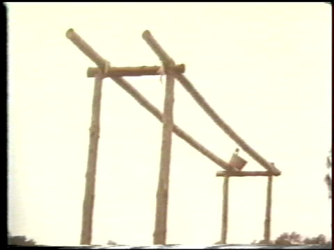 stockvideo's en b-roll-footage met two men practice balance on parallel bars made out of bamboo kung fu parallel beam exercises on january 01 1980 in hong kong china - de brug