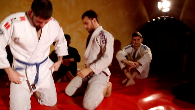 two men practicing martial arts - jiu jitsu stock videos and b-roll footage