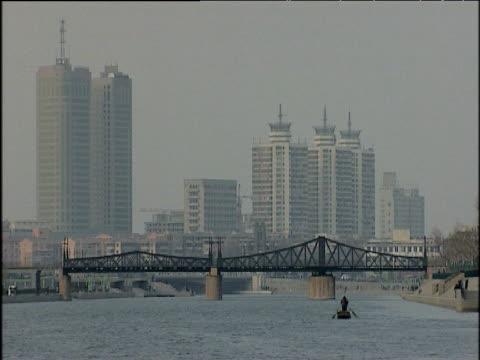 two men row along hai he river tianjin china; 2005 - tianjin stock videos & royalty-free footage