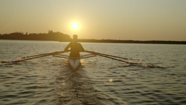 two men sculling on lake in early morning. - rowing stock videos & royalty-free footage