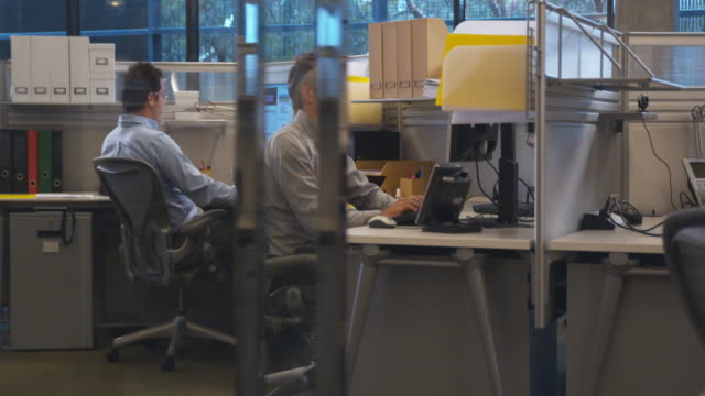 ws ds, two men sitting at desk in office working on computers, sydney, australia - 30 34 years stock videos & royalty-free footage