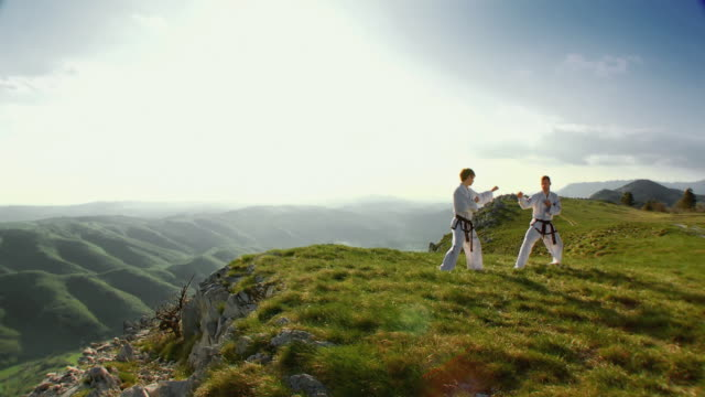 ws pov two men standing in taekwondo form on edge of mountain plateau / vipava, nature park nanos, slovenia - taekwondo stock videos & royalty-free footage