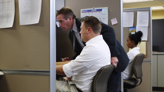 MS ZI Two men talking at computer in office / Orem, Utah, USA