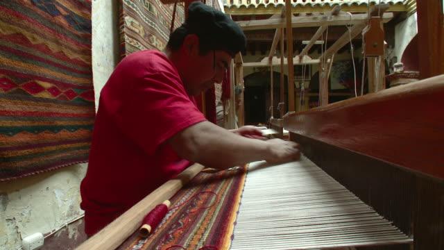 ms two men weaving in workshop / oaxaca, mexico - weaving stock videos & royalty-free footage