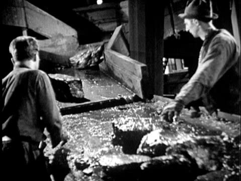 b/w ms two men working at picking table, rocks of coal sliding down chute onto table for sorting, 1930s maryland / usa - anthracite coal stock videos & royalty-free footage