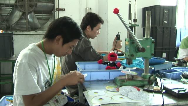 CU, ZO, ZI, Two men working in toy factory, Dongguan City, China