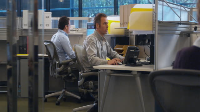 WS Two men working on computers in office and talking, Sydney, Australia