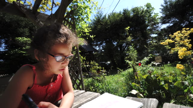 two mixed race sisters do homework on backyard table - alertness stock videos & royalty-free footage