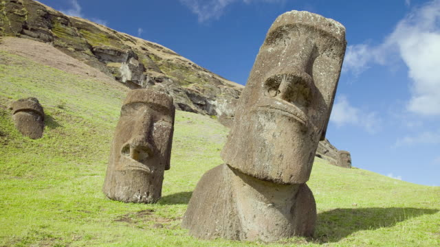 t/l ms two moai figures on hillside / ahu akivi, easter island, chile - geographical locations stock videos & royalty-free footage