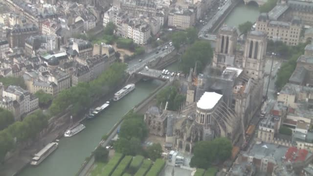 FRA: Aerial views of Notre Dame Cathedral, two months after fire