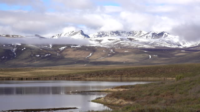 Two Moose Lake snowy Continental Divide Ogilive Mountains Tombstone Territorial Park Yukon