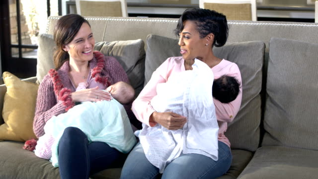 vídeos de stock e filmes b-roll de two mothers and babies, breastfeeding - amamentar