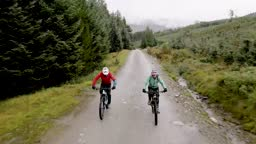 Two mountain bikers cycling along a forest bike trail