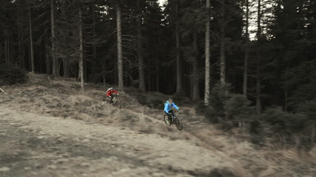 AERIAL Two mountain bikers riding across mountain meadow