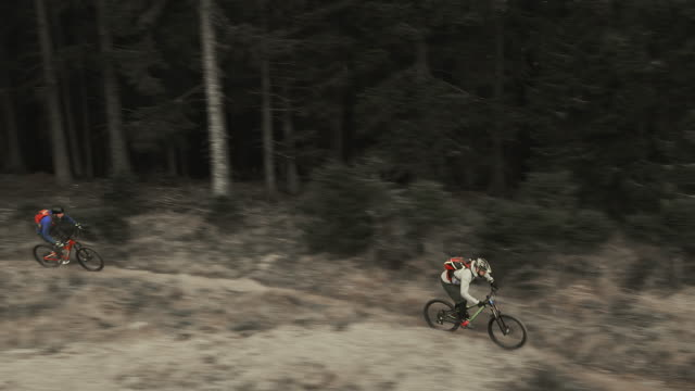 AERIAL Two mountain bikers riding their bikes on a forest trail