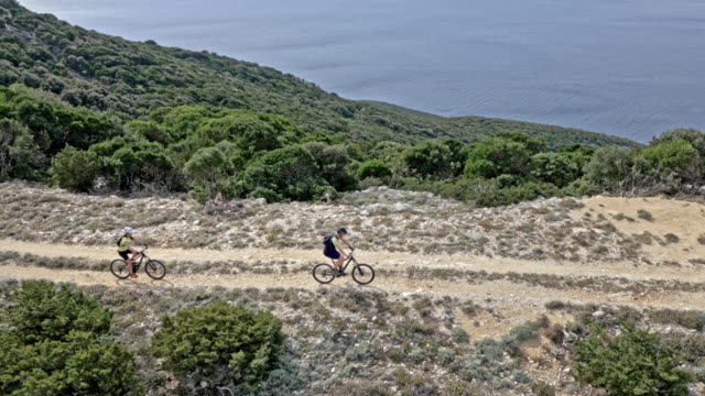 AERIAL Two mountain bikers riding their bikes on a mountain above the sea on a sunny day