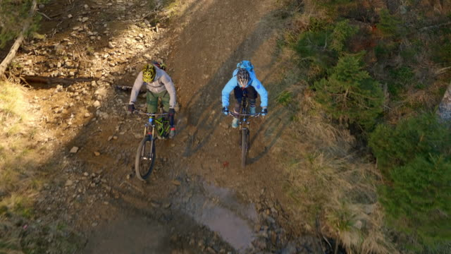 AERIAL Two mountain bikers riding their bikes through the forest and over a puddle