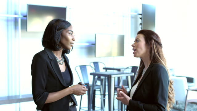 two multi-ethnic businesswomen having serious discussion - tradeshow stock videos & royalty-free footage