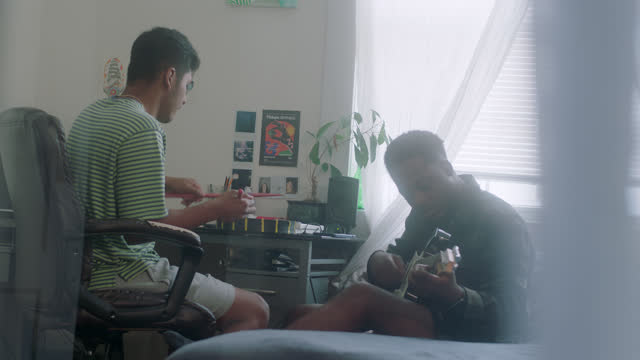 ms of two musicians sharing a vibe - youth culture stock videos & royalty-free footage