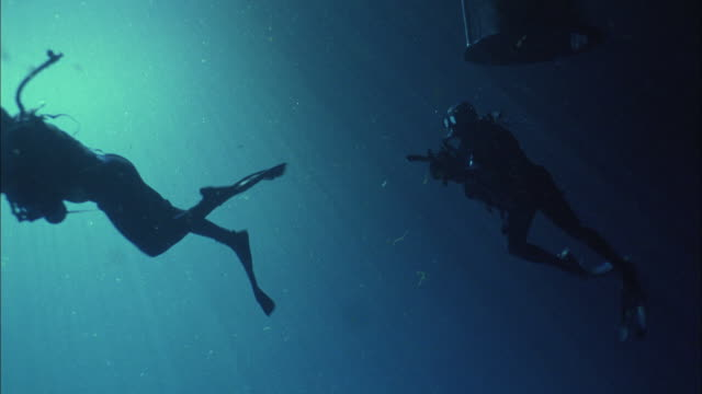 ms, two navy divers holding rifles swimming underwater through tube hatch, usa - navy stock videos & royalty-free footage