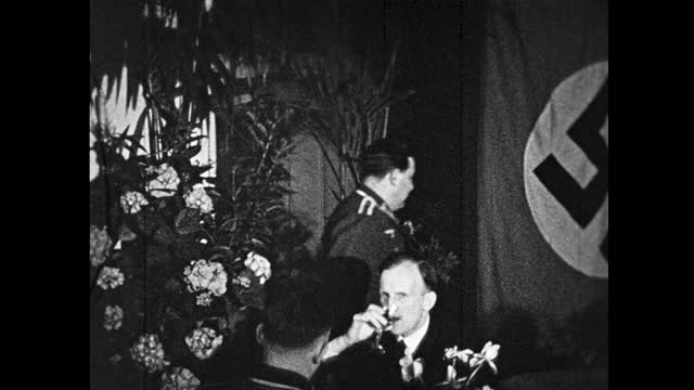 two nazi officers talking together while drinking and smoking, surrounded by flower decorations and a swastika flag in the background; nazi officers... - nazi swastika stock videos & royalty-free footage