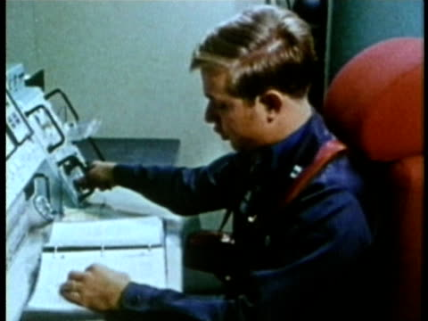 1985 montage ms two nuclear power plant technicians operating control panel audio / usa - 冷戦点の映像素材/bロール