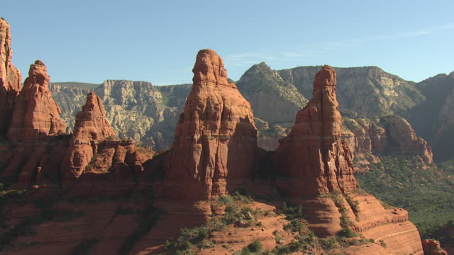 ms aerial two nuns with large rock formations / sedona, arizona, united states  - sedona stock videos & royalty-free footage