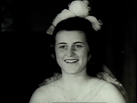montage two of rose kennedy's daughters as debutantes wearing flowers in their hair / united states - debutante stock videos & royalty-free footage
