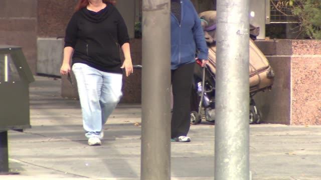 Two Overweight Women Walking