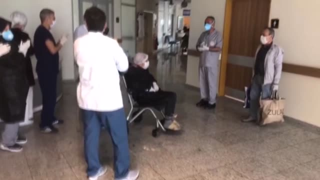 two patients at 87-year-old, who recovered after new type of coronavirus treatment are being discharged from the hospital and being sent to their... - recovery stock videos & royalty-free footage