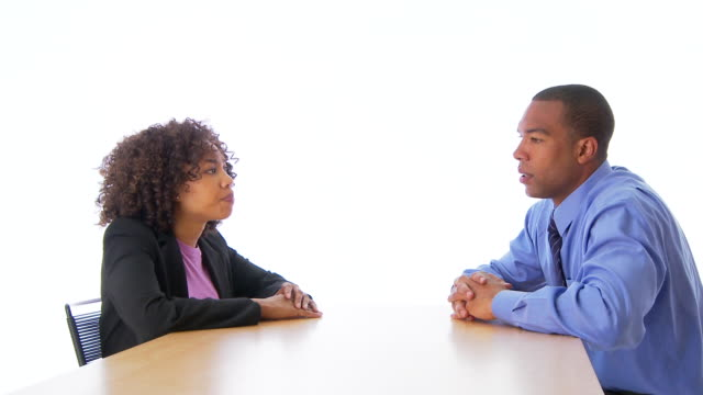 two people business people talking face to face - debatte stock-videos und b-roll-filmmaterial