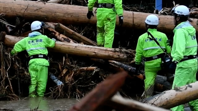 two people died and another person was missing in fukuoka and oita prefectures on july 6japan amid torrential rain that has triggered landslides... - oita prefecture stock videos & royalty-free footage