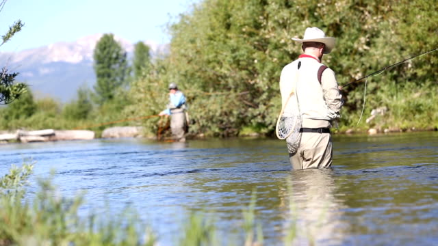 two people fly fishing in montana - fly fishing stock videos and b-roll footage