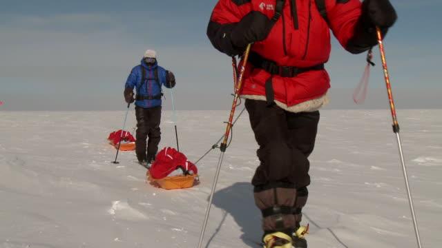 vídeos de stock, filmes e b-roll de ms td of two people on skis pulling pack sleds across south pole ice / south pole, antarctica - roupa de esqui