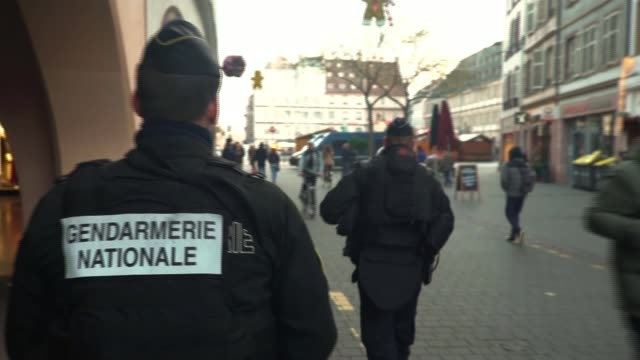 Two people shot dead in attack on Christmas market in Strasbourg Suspect still on the run FRANCE Alsace Strasbourg EXT General view police van in...