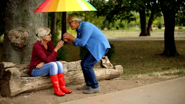 vídeos y material grabado en eventos de stock de dos personas con paraguas en día de otoño lluvioso - paraguas