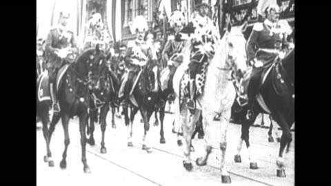 two photograph portraits of wilhelm ii / wilhelm in military uniform riding horse down street with other officers riding horses, formation of... - schwarzweiß bild stock-videos und b-roll-filmmaterial