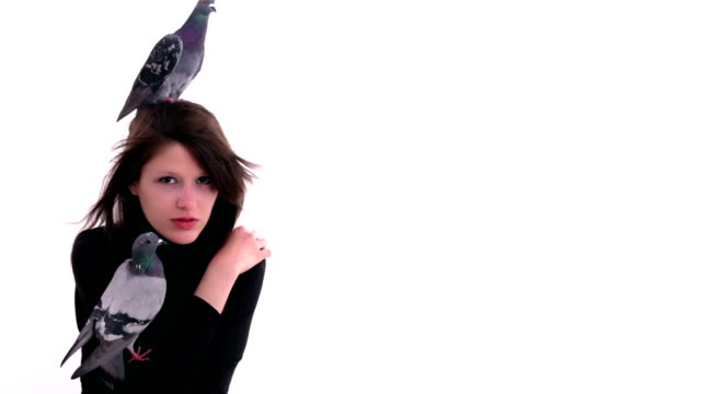stockvideo's en b-roll-footage met two pigeons sitting on woman's shoulder and head - coltrui
