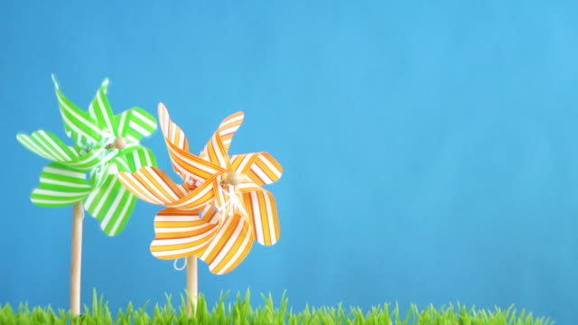 two pinwheels .. - saturated colour stock videos & royalty-free footage
