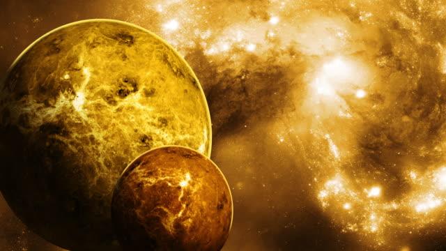 vidéos et rushes de deux planètes se rapprochant eachother - constellation
