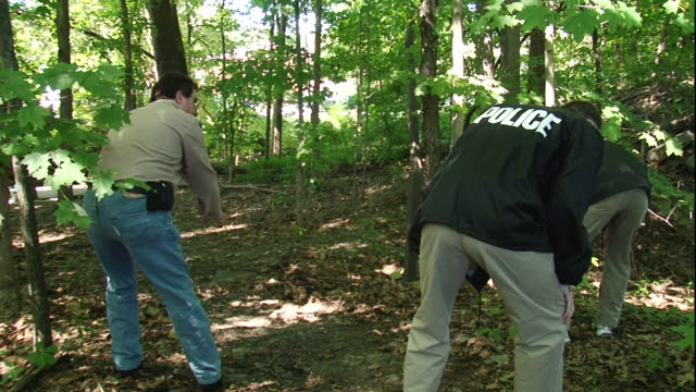 two police detectives search a forest floor. - detektiv stock-videos und b-roll-filmmaterial