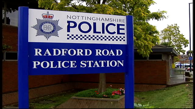 two police officers jailed for corruption nottingham sign 'nottinghamshire police' outside radford road police station name on wall 'radford road... - nottinghamshire stock videos & royalty-free footage