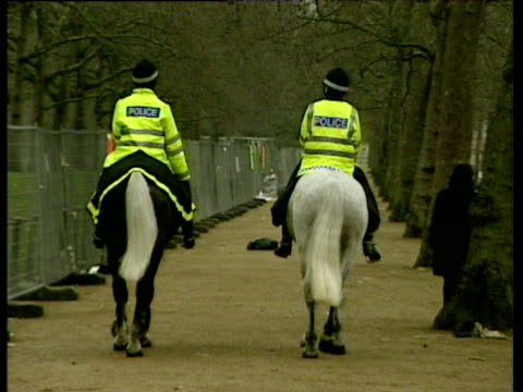 two police officers on horseback walk away from camera; 01 jan 00 - recreational horse riding stock videos & royalty-free footage
