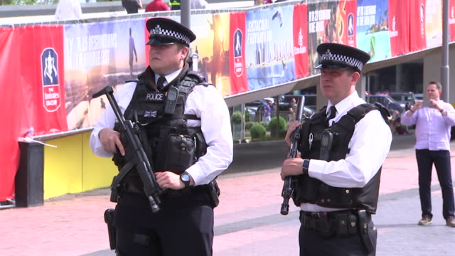 two police officers outsideêwembleyêstadium - healthcare and medicine or illness or food and drink or fitness or exercise or wellbeing stock videos & royalty-free footage