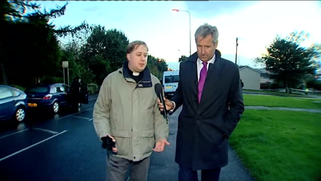two police officers shot dead in greater manchester england greater manchester hattersley ext reverend james halstead interview with reporter as... - hattersley stock videos and b-roll footage