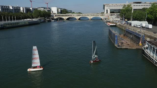 FRA: Sailboats On The Seine River
