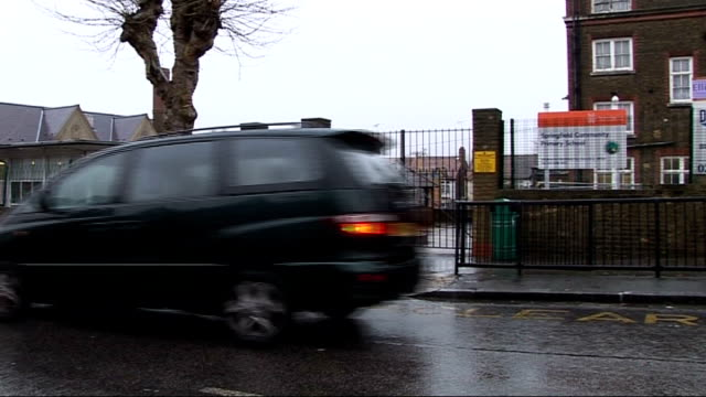 Two primary schools have SATS results annulled London Hackney Springfield Community Primary School EXT Exterior of school Name board as traffic past...